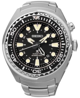 Seiko Men's Automatic Prospex Kinetic GMT Diver Stainless Steel Bracelet Watch 48mm SUN019