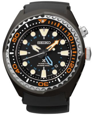 Seiko Men's Automatic Prospex Kinetic GMT Diver Black Silicone Strap Watch 48mm SUN023