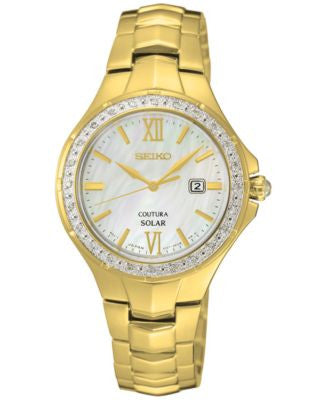 Seiko Women's Solar Coutura Diamond Accent Gold-Tone Stainless Steel Bracelet Watch 29mm SUT242