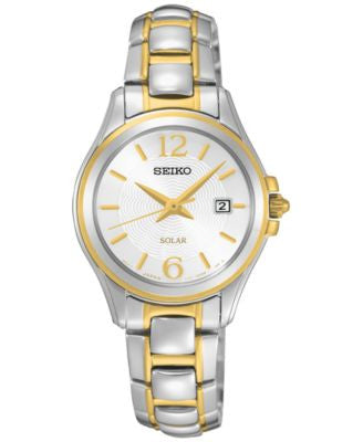 Seiko Women's Solar Dress Two-Tone Stainless Steel Bracelet Watch 27mm SUT250