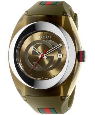 Gucci Sync Unisex Swiss Khaki Rubber Strap Watch 46mm YA137106