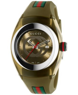 Gucci Sync Unisex Swiss Khaki Rubber Strap Watch 36mm YA137306