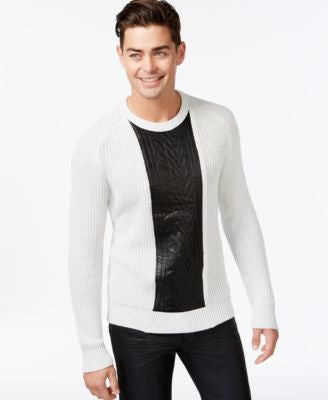 INC International Concepts Men's Crew-Neck Faux-Leather Cable-Knit Sweater, Only at Vogily