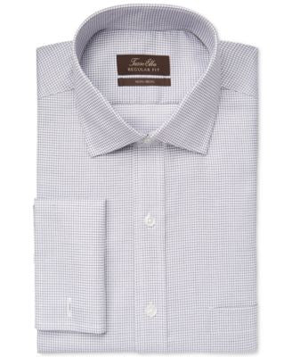 Tasso Elba Non-Iron Ice Grey Mini Check French Cuff Dress Shirt, Only at Vogily