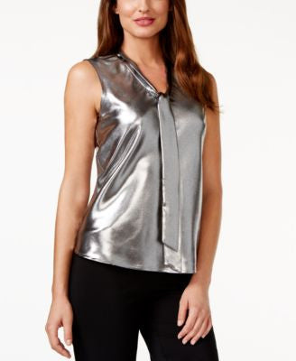 Kasper Tie-Neck Metallic-Silver Top