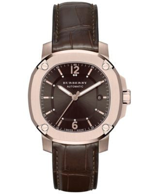 Burberry Men's Swiss Automatic The Britain Brown Alligator Leather Strap Timepiece 43mm BBY1211