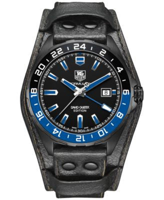 TAG Heuer Men's Automatic Formula 1 GMT David Guetta Edition Black Calfskin Leather Strap Watch 43mm