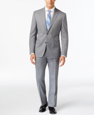 Kenneth Cole New York Slim-Fit Performance Wear Light Gray Travel Suit