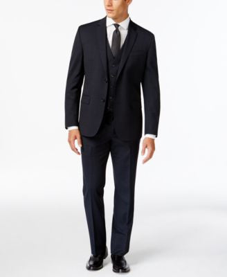 Kenneth Cole New York Slim-Fit Performance Wear Navy Tonal Plaid Vested Travel Suit