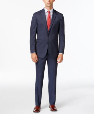 Kenneth Cole Reaction Slim-Fit Navy Ministripe Suit