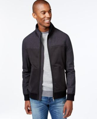 Vince Camuto Men's Mixed-Media Bomber Jacket