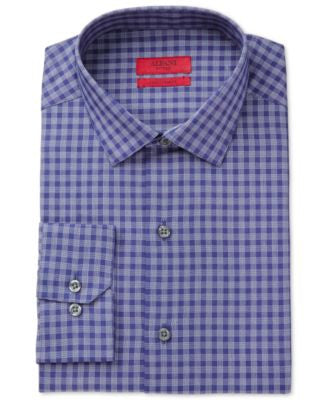 Alfani Fitted Performance Navy Cross Check Dress Shirt, Only at Vogily