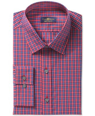 Club Room Estate Wrinkle Resistant Navy Window Check Dress Shirt, Only at Vogily