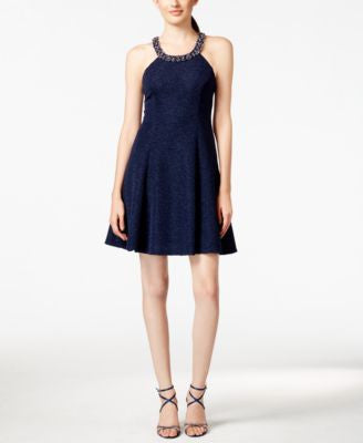 Betsy & Adam Embellished A-Line Dress