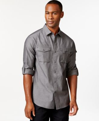 Sean John Men's Striped Button-Front Shirt
