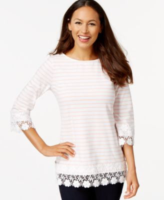 Charter Club Striped Crochet-Trim Top, Only at Vogily