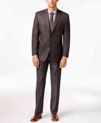 Marc New York by Andrew Marc Slim-Fit Charcoal Sharkskin Suit