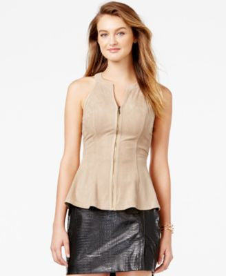 GUESS Faux-Suede Zip-Front Peplum Top