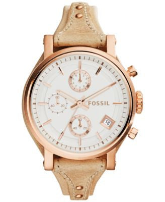 Fossil Women's Chronograph Original Boyfriend Sand Leather Strap Watch 38mm ES3748