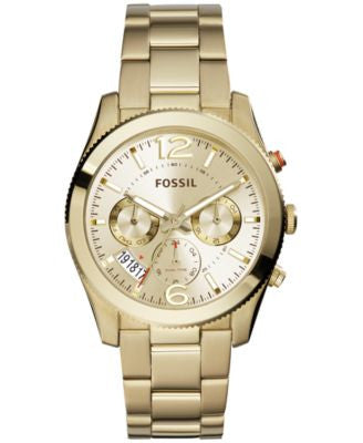 Fossil Women's Perfect Boyfriend Gold-Tone Stainless Steel Bracelet Watch 40mm ES3884