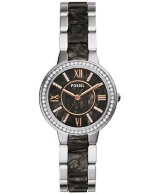 Fossil Women's Virginia Dark Pearlized Acetate and Stainless Steel Bracelet Watch 30mm ES3918