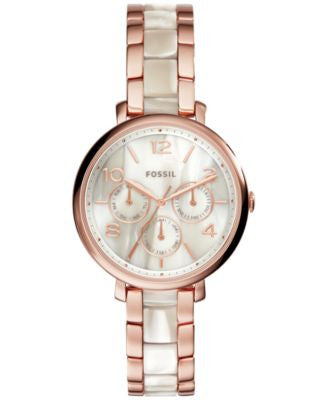 Fossil Women's Jacqueline Rose Gold-Tone Stainless Steel & Shimmer Horn Acetate Bracelet Watch 36mm
