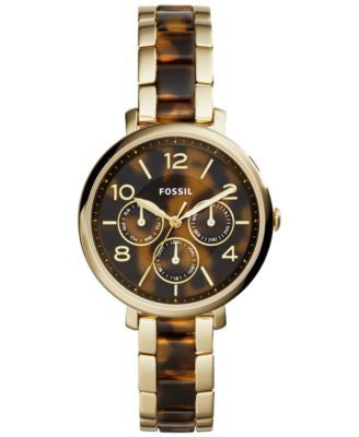 Fossil Women's Jacqueline Gold-Tone Stainless Steel & Tortoise Acetate Bracelet Watch 36mm ES3925