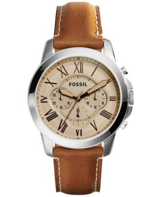 Fossil Men's Chronograph Grant Brown Leather Strap Watch 45mm FS5118