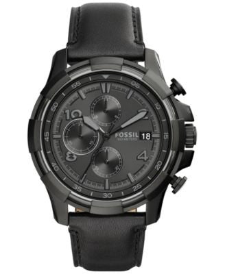 Fossil Men's Chronograph Dean Black Leather Strap Watch 45mm FS5133