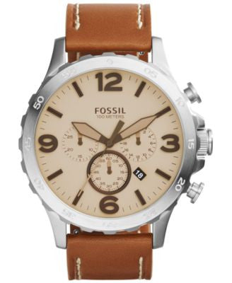 Fossil Men's Chronograph Nate Light Brown Leather Strap Watch 50mm JR1503