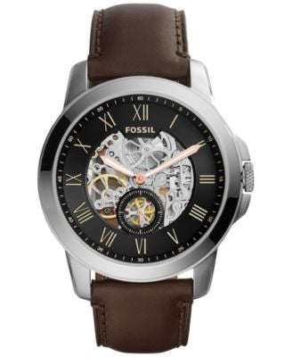 Fossil Men's Automatic Grant Dark Brown Leather Strap Watch 45mm ME3095, First at Vogily