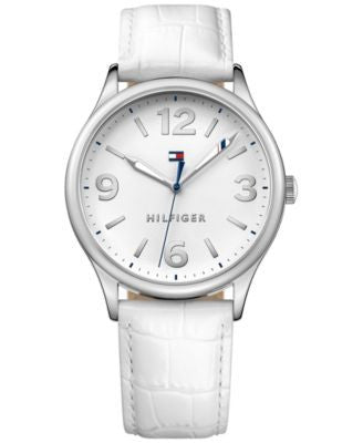 Tommy Hilfiger Women's White Leather Strap Watch 38mm 1781594