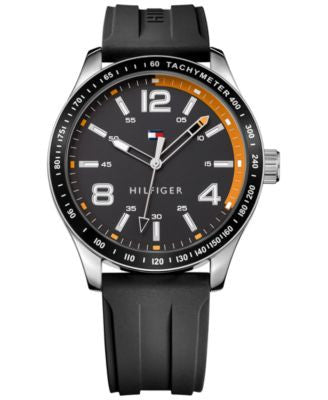 Tommy Hilfiger Men's Black Rubber Strap Watch 44mm 1791173