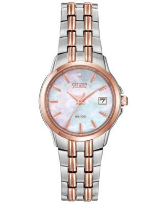 Citizen Women's Eco-Drive Diamond Accent Two-Tone Stainless Steel Bracelet Watch 26mm EW1546-58D