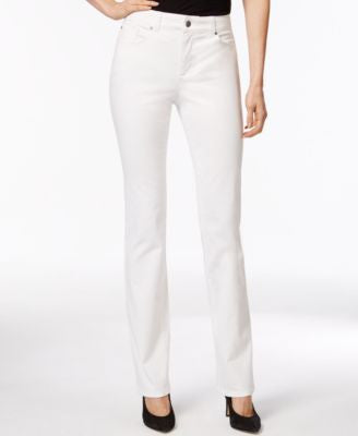 Charter Club Petite Straight Leg Jeans, White, Only at Vogily