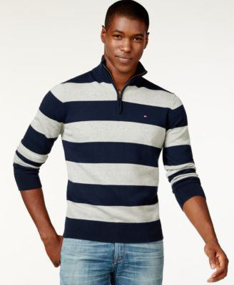Tommy Hilfiger Rugby-Striped Quarter-Zip Sweater