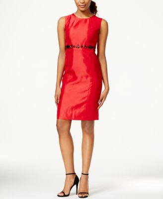 Kasper Petite Embellished-Waist Sheath Dress