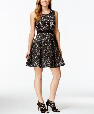 Xscape Laser-Cutout Fit & Flare Party Dress