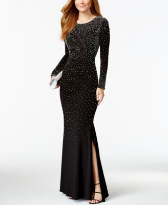 Xscape Petite Rhinestone Side-Split Dress