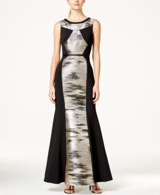 JS Collection Metallic-Combo Sleeveless Gown