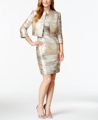 Tahari ASL Metallic Sleeveless Dress & Jacket
