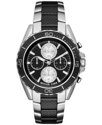 Michael Kors Men's Chronograph JetMaster Two-Tone Carbon Fiber Stainless Steel Bracelet Watch 43mm M