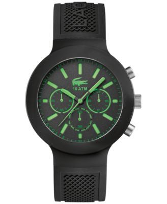 Lacoste Men's Chronograph Borneo Black Silicone Strap Watch 44mm 2010811