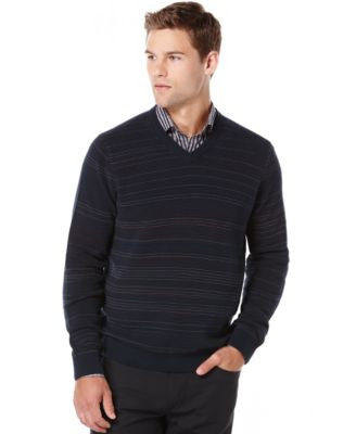Perry Ellis Big and Tall Striped V-Neck Sweater