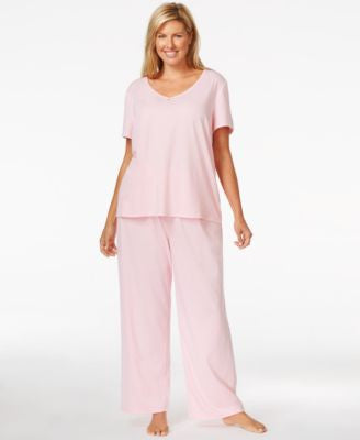 Nautica Plus Size Short Sleeve V-Neck Top & Pajama Pants