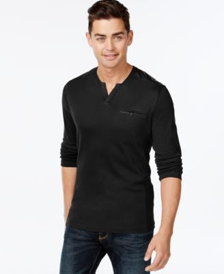 INC International Concepts Men's Collude Split-Neck Shirt, Only at Vogily
