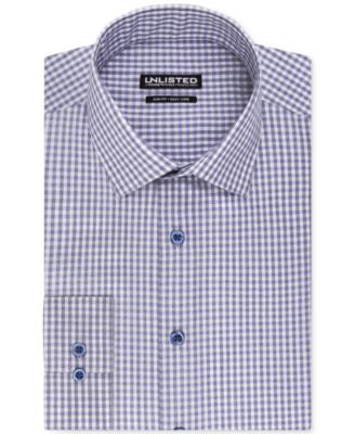 Unlisted by Kenneth Cole Blue Check Slim-Fit Dress Shirt