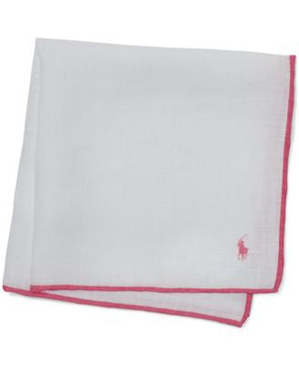 Polo Ralph Lauren Pink Pony Linen Pocket Square