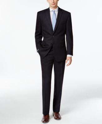 Calvin Klein Mid-Navy Solid Slim-Fit Suit