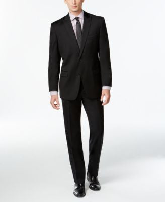 Calvin Klein Black Solid Slim-Fit Suit